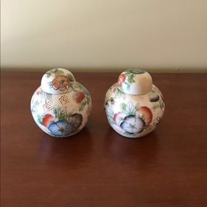 Beautiful Chinese miniature floral pots with lids.